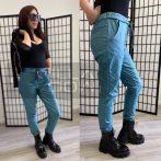 Alexandra bőrhatású gumis derekú nadrág-türkiz