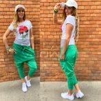 Harlem ülepes pamut nadrág-benetton zöld