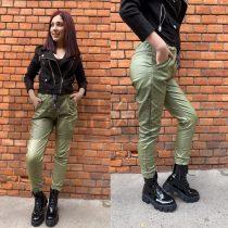Alexandra bőrhatású gumis derekú nadrág-zöld