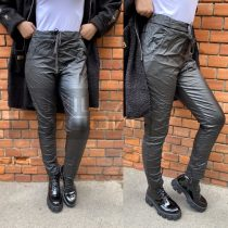 Alexandra bőrhatású gumis derekú nadrág-fekete