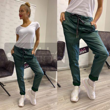 Alexandra bőrhatású gumis derekú nadrág-sötétzöld