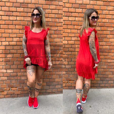 New c - Stefani - viszkóz csipkés ujjú tunika - piros