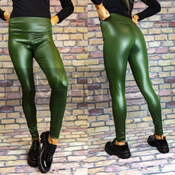 G&B magas derekú elasztikus fényes leggings-khaki