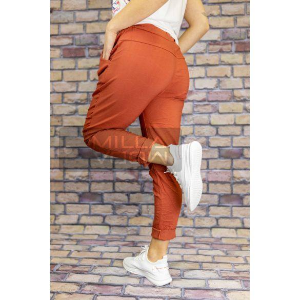 Detti zsebes vászon nadrág-téglavörös