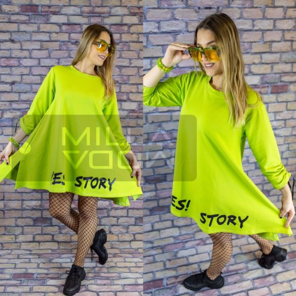 Yes Story A vonalú pamut tunika-zöld