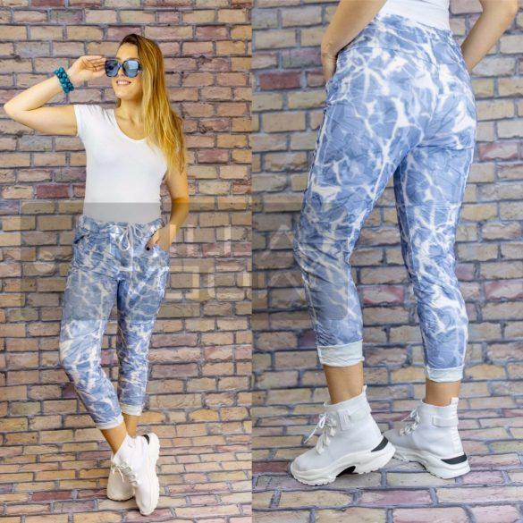 Eliza batikolt mintás gumis derekú elasztikus nadrág-kék
