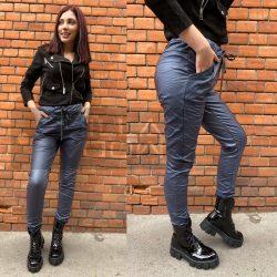 Alexandra bőrhatású gumis derekú nadrág-sötétkék