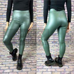 Luna bőrhatású fényes leggings-Sötétzöld GG-99952