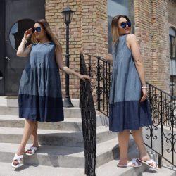 Wendy Trendy Velence ujjatlan farmer ruha-világos kék