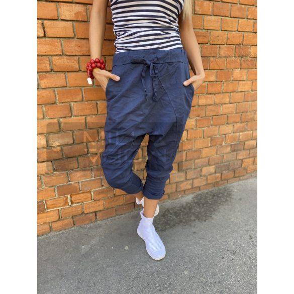 Harlem ülepes pamut nadrág-sötétkék