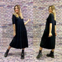 Gitta fodros kötött ruha-fekete