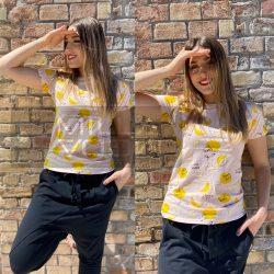 Limonade mintás pamut póló-púder