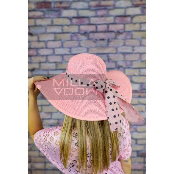 Sarolta nyári kalap pöttyös szalaggal-rózsaszín