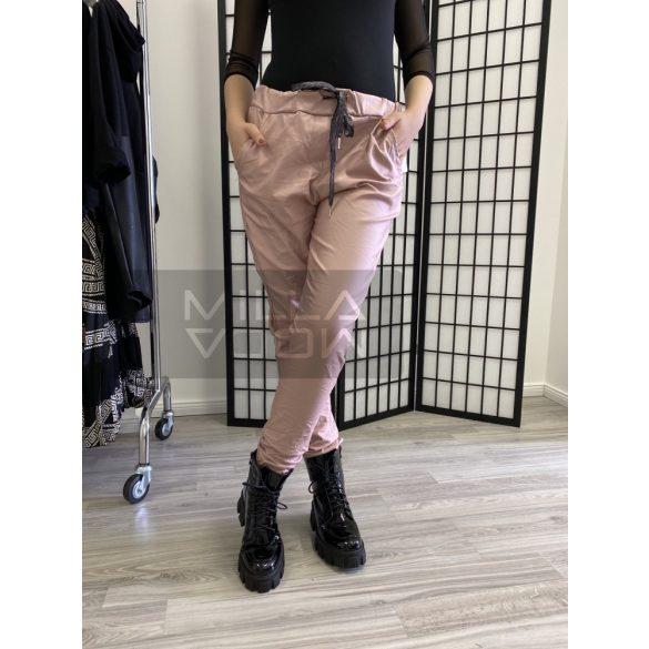 Alexandra bőrhatású gumis derekú nadrág-púder