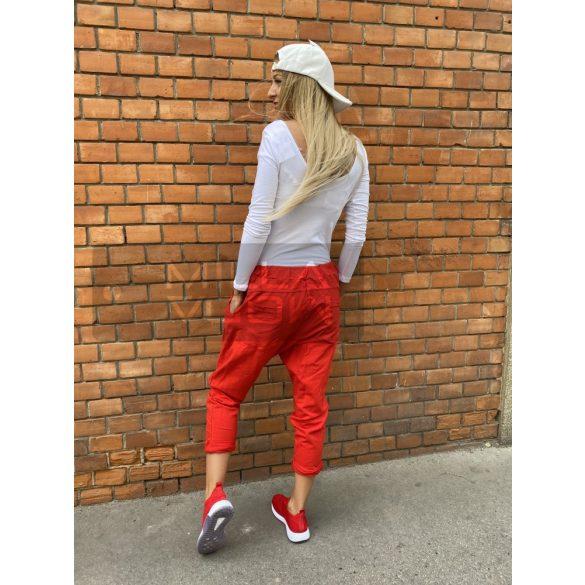 Harlem ülepes pamut nadrág-piros