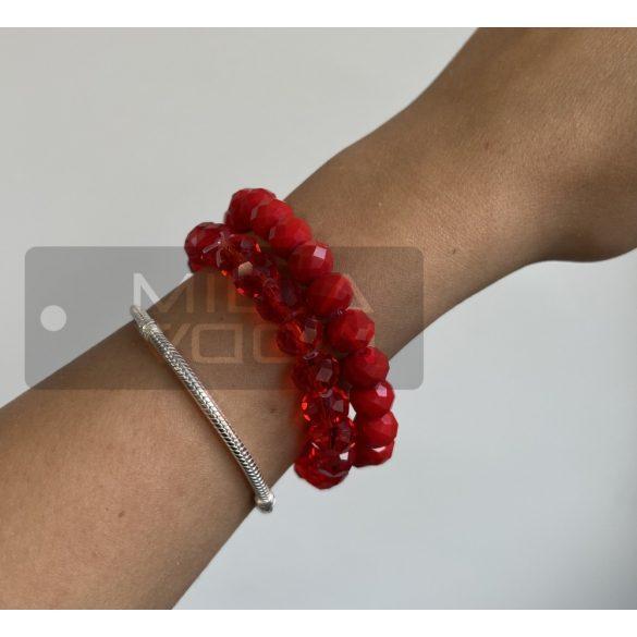 Diamond gumis műanyag kristály gyöngyös karkötő-áttetsző piros