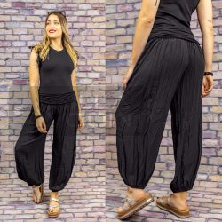Ankara gumis derekú vékony viszkóz laza nadrág-fekete