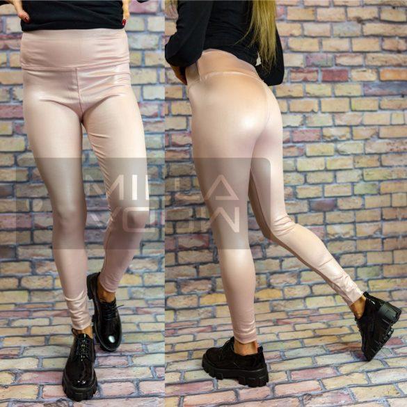 G&B magas derekú elasztikus fényes leggings-púder
