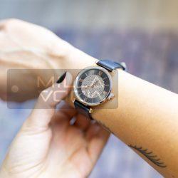 Florence műbőrszíjas köves óra-fekete