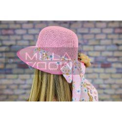 Katalin nyári kalap mintás szalaggal-rózsaszín