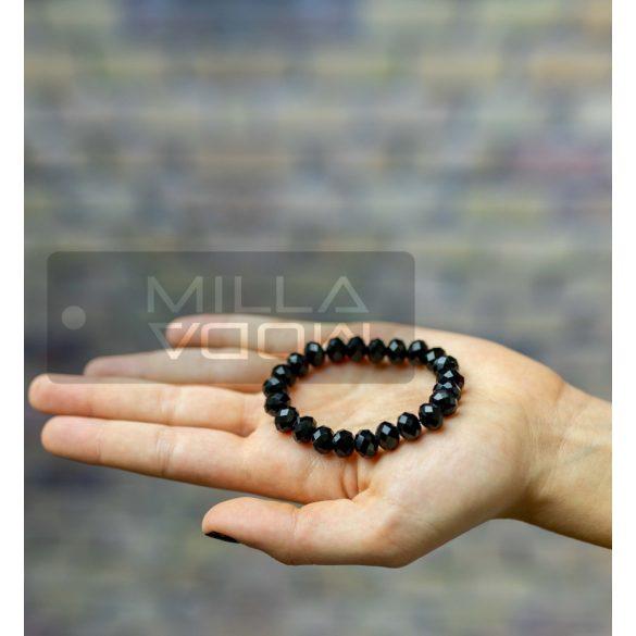 Diamond gumis műanyag kristály gyöngyös karkötő-fekete