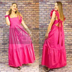 Angelina fodros ujjú hátul masnis vászon hosszú ruha-pink