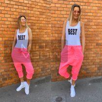 Harlem ülepes pamut nadrág-neonpink