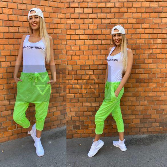 Harlem ülepes pamut nadrág-neonzöld