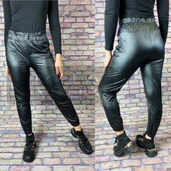 Luna bőrhatású Gumis derekú, bélelt nadrág -Fekete