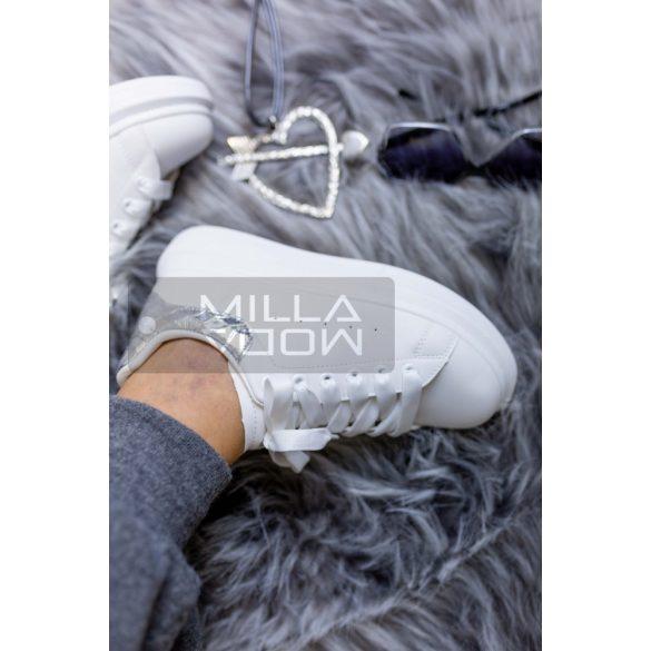 Csilla vastag talpú fűzős pikkely mintás cipő-fehér/ezüst