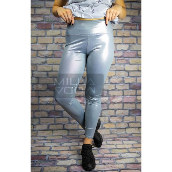 GNB magasderekú elasztikus leggings-ezüst