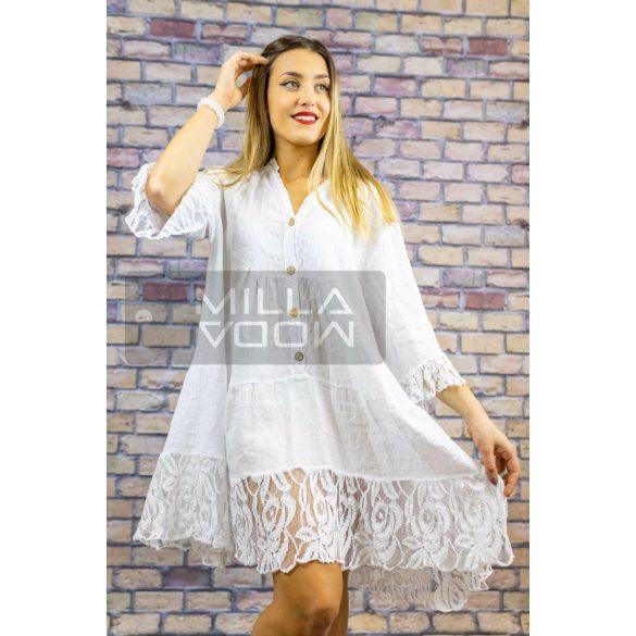 Léda csipkés lenvászon ruha-fehér