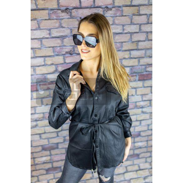 Selena bőrhatású gombos megköthetős ing-fekete