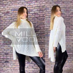 Csilla garbós, hátul hosszított, kötött pulóver-Fehér