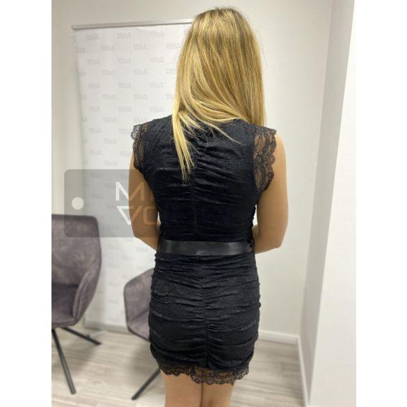 Susanna csipkés hátul cippes ruha-fekete
