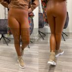 Eufória bélelt bőrhatású leggings-barna