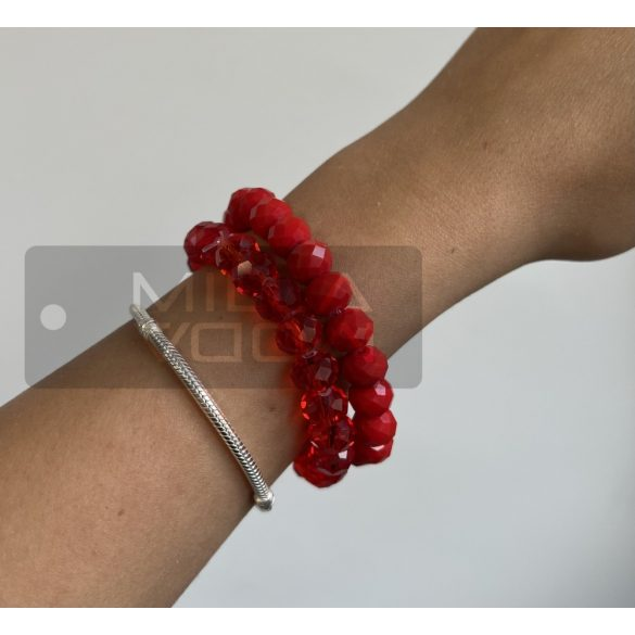 Diamond gumis műanyag kristály gyöngyös karkötő-piros