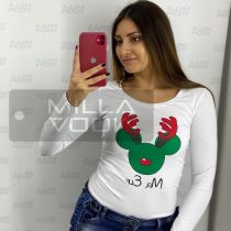 Mr.Elf szarvasos póló-fehér