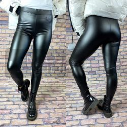 Luna bőrhatású fényes leggings-Fekete GG-99952