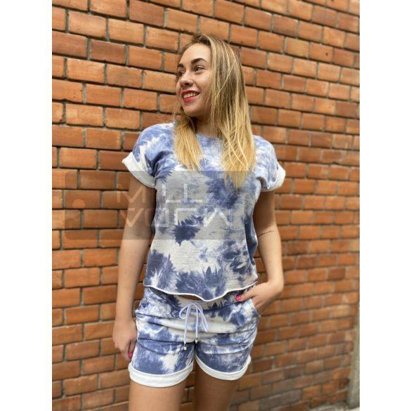 Zita batikolt pamut szett-petrol kék