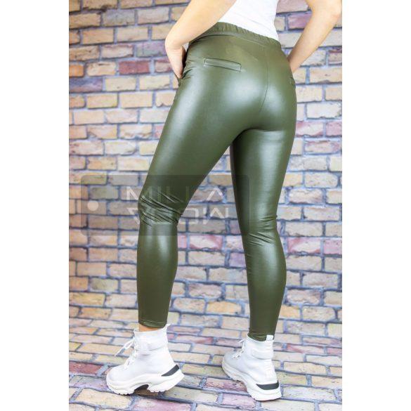 Tiffany megkötős gumis derekú elasztikus bőrhatású nadrág-khaki