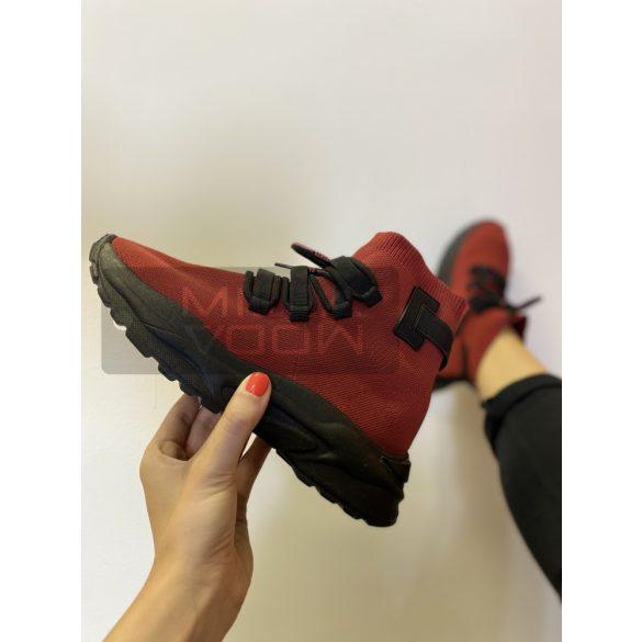 Organized magasszárú elasztikus vászon cipő-bordó