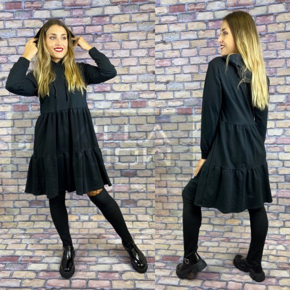 Violetta kapucnis fodros aljú ruha-fekete
