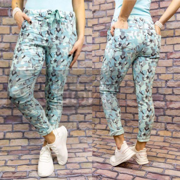 Tunézia gumis derekú terep mintás elasztikus nadrág-kék