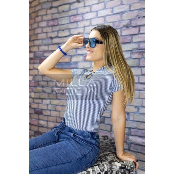 Striped lurex szálas pamut póló-világos kék
