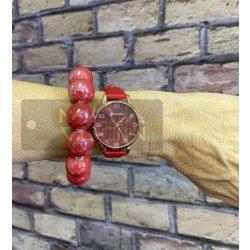 Flame műbőrszíjas óra-piros