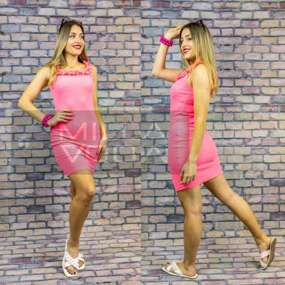 Plage felül fodros bordázott ruha-neon pink