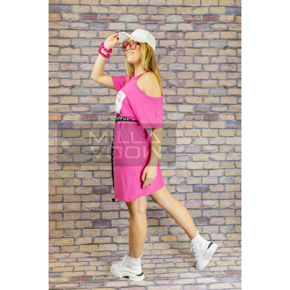 Women Rull aszimmetrikus öves ruha-pink