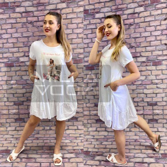 Lily fodros aljú mintás pamut ruha-fehér