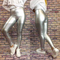 Ibiza elasztikus bőrhatású leggings-ezüst